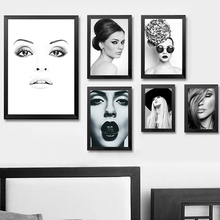 xdr026 Black and White modern sexy girls canvas painting colorful makeup red lips modern picture wall art print posters(China)