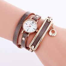 3 circle leather women bracelet watch fashion ladies diamond pendant roma design dress quartz leisure retro vintage wristwatches