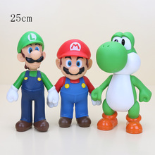 3pcs/set 25CM Super Mario Bros 3 kinds Yohsi Mario Luigi PVC Action Figure Toy model for small gifts(China)