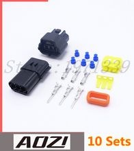 10 Sets Three Pins Way Connector AMP 1.8 New Auto Connector Plugs Waterproof Black Best Price High Quality(China)