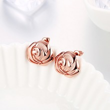 Original Rose Gold Color Shimmering Rose Petals Flower Stud Earrings with Clear CZ Fashion Jewelry Boucle d'oreille