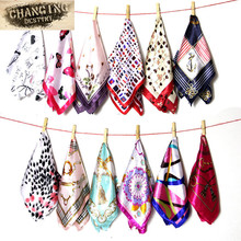 50 * 50 CM 22 Colors Ladies Scarves Four Seasons Available Woman's Professional Small Squares New Design Silk Scarf(China)