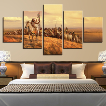 Wall Art Modern Canvas Horses Prints Popular Fashion Modular Painting 5 Panel Indian Decor Picture Cheap Framework Poster(China)