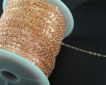 factory 10M(32ft) 1.5mm copper  Brass Flat Cable Chain Findings Soldered DIY Necklace Jewelry Findings C71
