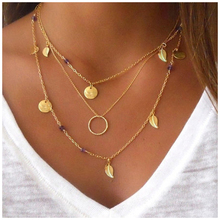 2017 New Hot Fashion gold-color Fatima Hand 3 Layer Chain Bar Necklace Beads and Long Strip Pendant Necklaces Jewelry JHS023
