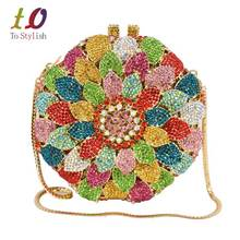 Sunflower petals india bag women bridal accessories banquet evening bag female rostone Crystal Clutch bag party purse SC202