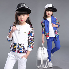 2017 baby poem Boys Girls spring sets 2017 new grils during the spring and autumn in children's wear children's sports suit two(China)