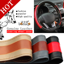 HOT Genuine Leather Steering Wheel Cover,Car Styling Accessories Volante Esportivo,DIY Handmade Case With Needles and Thread