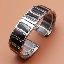 20mm 22mm Watchband Mens Women High Quality Stainless Steel wrap Ceramic Black Band Silver metal Watch Bracelet Strap promotion(China)