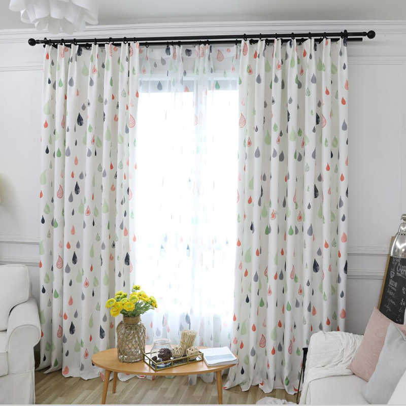 2018 Printed Time-limited Rushed Curtains Abstract Cute Raindrops For Bedroom Children Curtain For Window Treatments Ah83