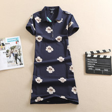 New Fashion Polo 2017 Floral Print Party Dress T Shirt Summer Pattern Elegant Women Cotton Robe Ete Evening Plus Size Vestidos