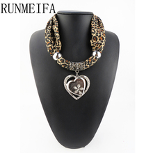 [RUNMEIFA] 2017 new design Women Ladies Jewellery Heart Gemstone Necklace Scarf Stole Charm Pendant Accessories(China)