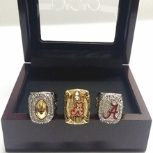US Size 6 To 15! 3pcs/Set NCAA 2015 Alabama Crimson Tide Football National Championship RingS Replica Wooden Box Drop Shipping