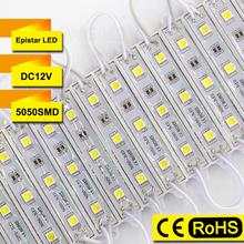 Factory WholeSales SMD 5050 100pcs/lot 0.72W 12V 3 led module light lamp RGB neon Waterproof for channel letter advertising sign