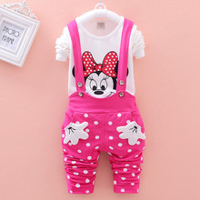 Vestidos Brand New 2016 Spring Children's Sets Minnie T-shirt & Polka Dot Overalls Girl Clothing Suits Kids Fall Bebes Clothes(China)