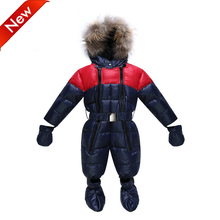 -30 Degree 2016 Newborn/Baby Girl Boy Winter Jacket Soft Duck Down Rompers Snowsuit Baby Snow Wear Winter Jumpsuit Baby Clothes(China)