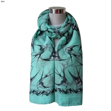 2016 new arrival Lady Womens Long Cute Swallow Bird Print Scarf Wraps Shawl Soft Scarves wholesale price