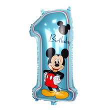 10pcs/lot Happy birthday decoration Mickey balloon Blue baloon Number one Helium Foil Balloons Baby boy 1st Birthday numbers 1