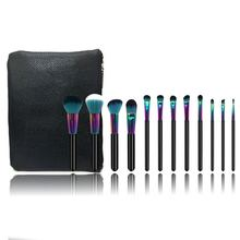 New product recommended 12pcs makeup brush The brass handle black Gradient dazzle colour makeup brush with PU zipper bag