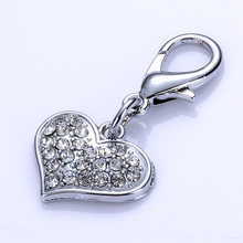 Crystal Dog Jewelry Pet Tag Heart Shaped Charm For Collar Necklace Lobster Clasp Pendant Accessories Dog Grooming