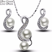 2017 music note happy gift women brand bridal Kate queen Simulated Pearl pendant Necklace Earrings chain Jewelry sets 29083(China)