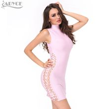 Adyce 2017 Women Summer New Runway Bandage Dress Pink Black Green Sleeveless Hollow Out Cross Celebrity Cocktail Party Dresses