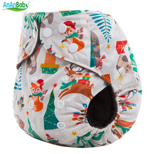 AnAnBaby Holiday Prints Bamboo Charcoal Baby Nappies Eco-Friendly Washable Cloth Diaper With Double Gussets For 3-15kg(China)