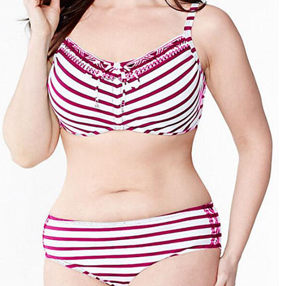 Big Plus Size EU Size  Womens Sexy Striped Push Up Bathing Beachwear Bikinis Sets Biquini Swimsuits Suits Tankini Swimwear<br><br>Aliexpress