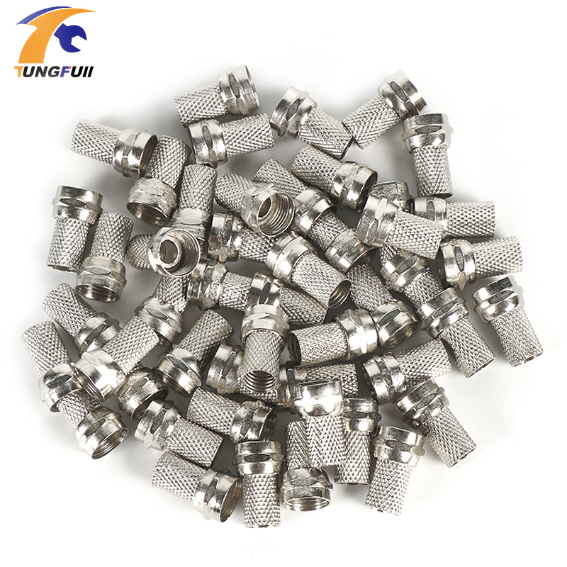 Drop shipping 100 Pcs Twist on RG6 F Type Coaxial Cable Connector Plugs Brass materials Singnal Line connector Copper Galvanized(China (Mainland))