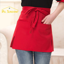 Universal Chef Half Short Waist Bib Durable Anti-fouling Stripe Solid Color Kitchen Cooking Cafe Pinafore Aprons With Pockets(China)