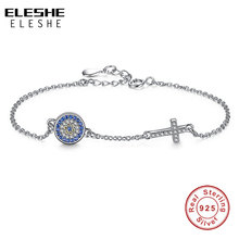 ELESHE Authentic 925 Sterling Silver Chain Bracelet Bangle Blue Rhinestone Evil Eye&Crystal Cross Charms Bracelet Women Jewelry(China)