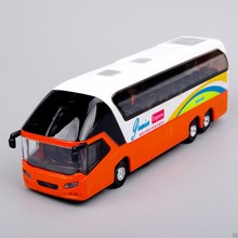 1/32 Scale Diecast Bus Models New York Double Decker Sightseeing Tour Car Children Toys Gifts light sound Orange Yellow Red(China)