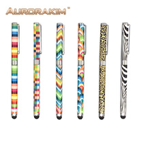 universal stylus pen for tablet or smart phone with pattern checker zebra colorful design 2 in 1 multi-fuctional pen ballpoint