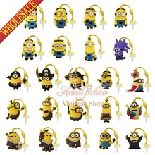 1pcs Minions Despicable me PVC Dust Plug Phone Pendants Mobile phone accessories Phone Strap ropes travel bag decortion