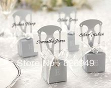 Factory price  100pcs/lot as candy box for wedding favor--Monogram Silver Chair Favor Box paper bags for gifts