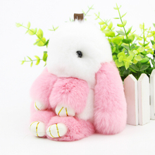 Funny Cute Genuine Rex Rabbit Plush Toy Pendant Key-chain Bag Car Charm Tag Mini Rabbit Furs Toys Doll