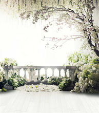 White Green Grass Terrace Flowers Tree photo backdrop High-grade Vinyl cloth Computer printed wedding Backgrounds