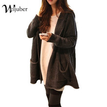 Weljuber 2017 Long Knitted Hooded Sweater Cardigans Autumn Winter New Knitwear Loose Ladies Warm Thicken Sweater With Pockets