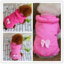 Newly Design Dot Print Winter Girl Dog Coat Sweatshirts Warm Pets Dogs Hoodies Clothes Small Puppy Jumper Apparel With Bow