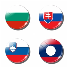 National Flag 30MM Fridge Magnet Slovakia Bulgaria Slovenia Laos Glass Dome Magnetic Refrigerator Stickers Note Holder HomeDecor(China)