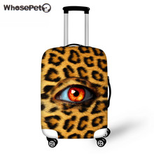 WHOSEPET Leopard Print Trolley Suitcase Protect Dust Bag Case for Women Travel Anti-scratch Trunk Case Cover 3D Eyes With Zipper(China)