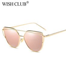 WISH CLUB Cat Eye Sunglasses Women Luxury Brand Designer Twin-Beam Rose Mirror Lens Sun Glasses For Female Lentes de sol  UV400