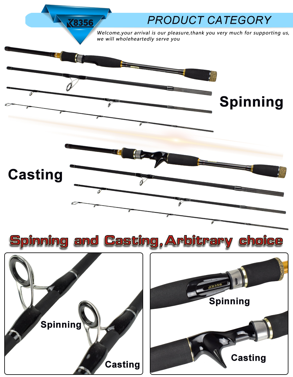 K8356 99%Carbon Lure Rod 4 Section CastingSpinning Fishing Rod 1.8 2.1 2.4 2.7 3.0m Travel Stitching Saltwater Pole Fish Tools(10)