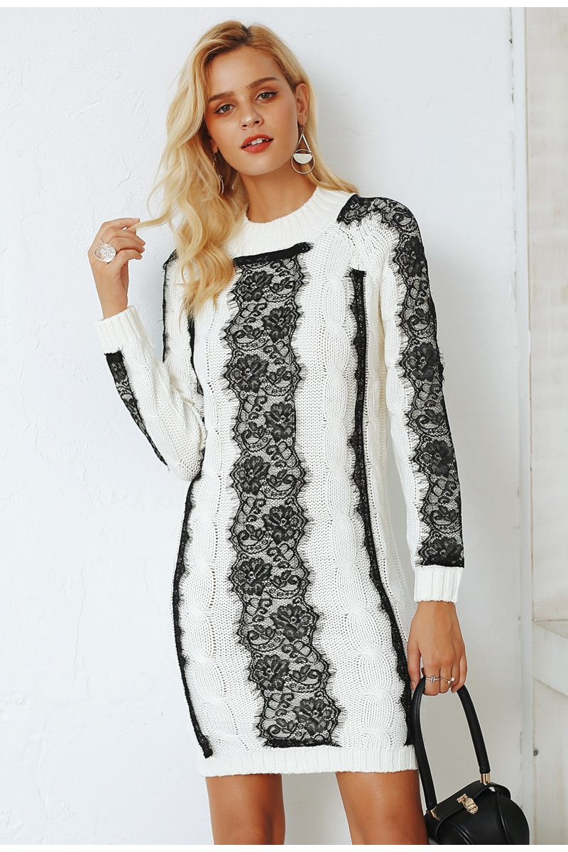 buy cheap O neck twist knitted sweater winter dress