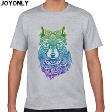 Joyonly 2017 Harajuku Style Men's Fashion T shirt Colorful Wolf Print T-Shirt Short Sleeve 100% Cotton Brand Clothing Tops TA66(China)