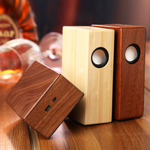 Wooden design HIFI Portable Computer Speaker USB Amplifier Stereo Sound Box with mic