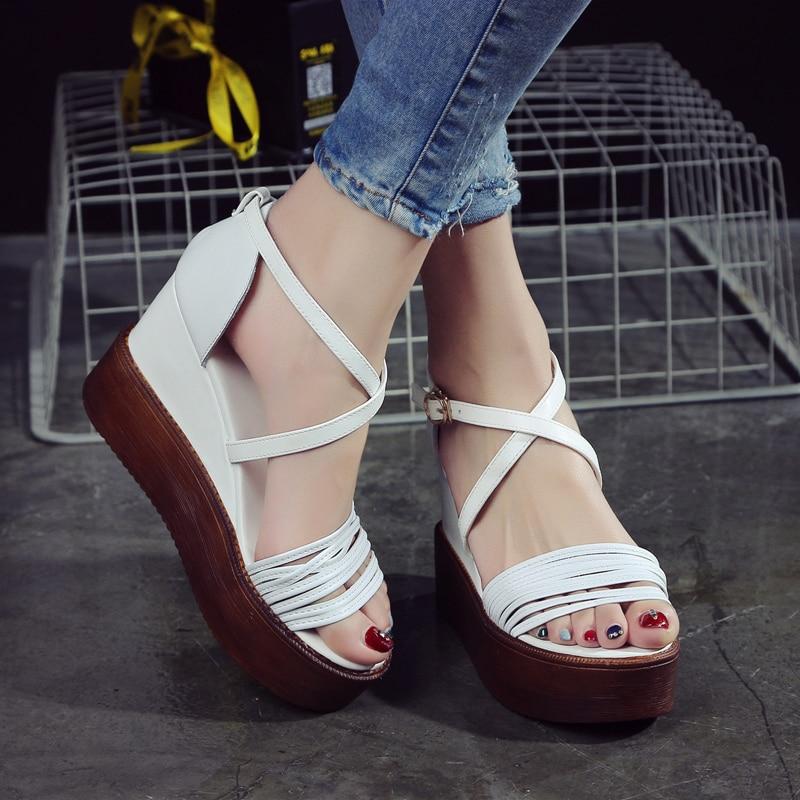 Sexy Open toe Wedges Gladiator Sandals Women 2017 High Heels Platform Sandals Summer Style Womens Shoes Woman<br><br>Aliexpress