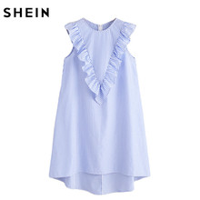 SHEIN Womens Zip Back Ruffle Yoke Striped Dress Summer Dresses Casual Ladies Sleeveless Round Neck A Line High Low Dress