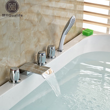 Luxury Waterfall Spout Bathtub Mixer Faucet Deck Mount Three Handles 5pcs Tub Taps with ABS Handshower(China)