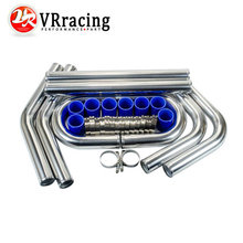"VR - 2.25' '57mm TURBO INTERCOOLER PIPE 2.25"" L=600MM CHROME ALUMINUM PIPING PIPE TUBE + T-CLAMP+ SILICONE HOSES BLUE VR1717"